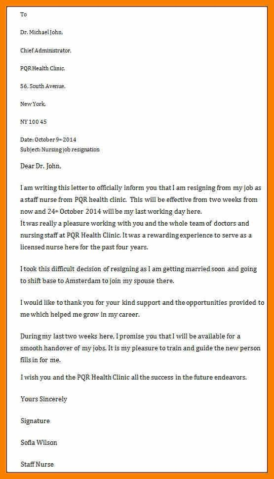 Resignation Letter For Nurses Sample.last Two Weeks Working Time ...