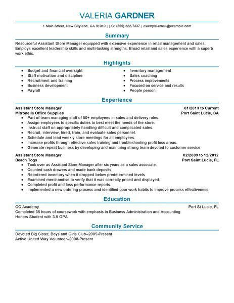 Retail Manager Resume - Resume Example