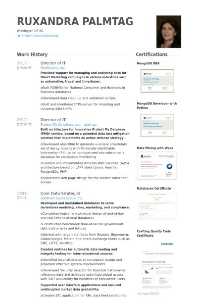 Director Of It Resume samples - VisualCV resume samples database