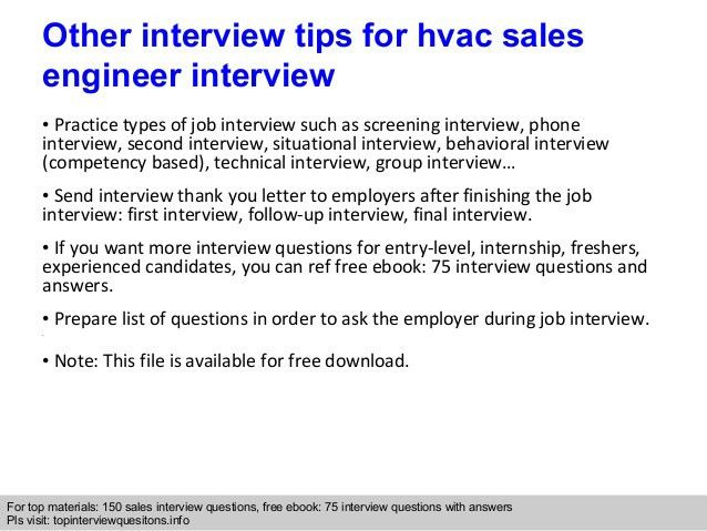Hvac sales engineer interview questions and answers