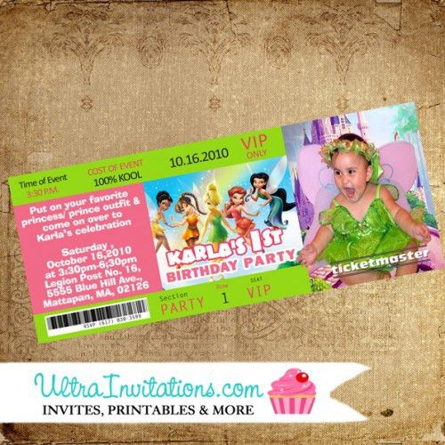 Tinkerbell Concert Ticket Invitations, Vip Pass Invites