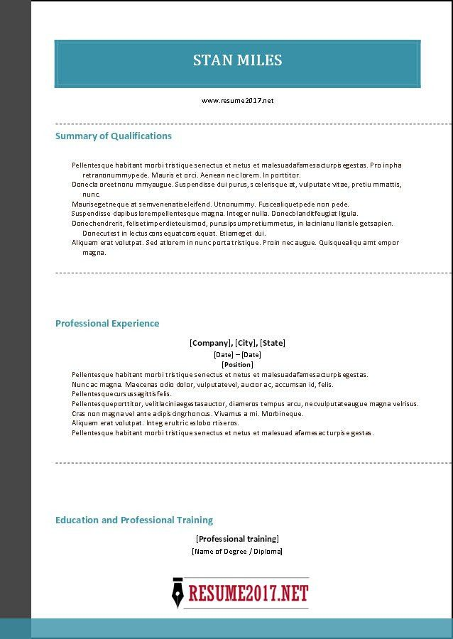 Combination resume format 2017 •