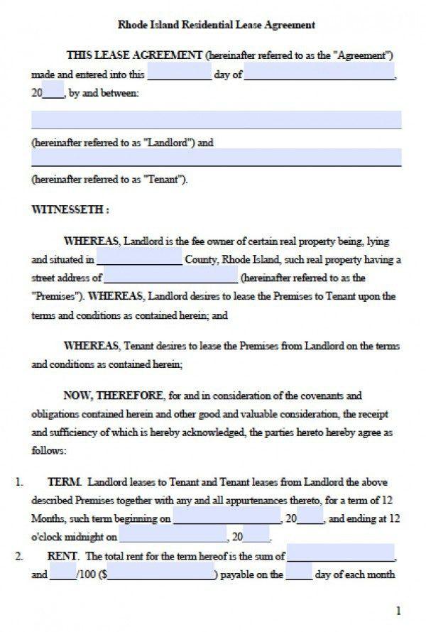 Free Rhode Island Residential Lease Agreement   PDF   Word (.doc)