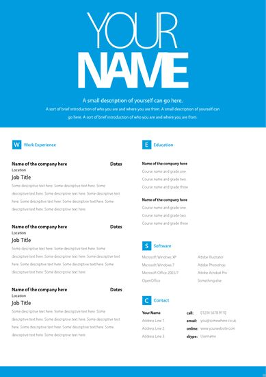 Basic CV Templates : CV and Cover Letter Template 103scr