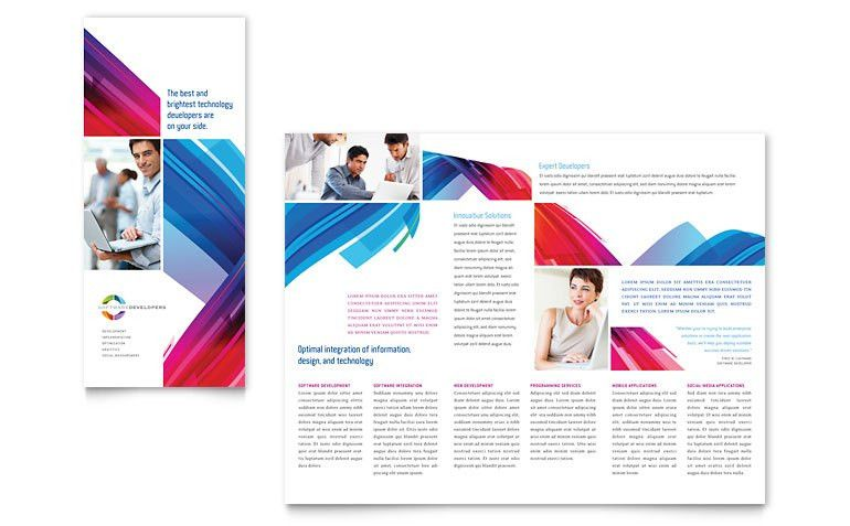 Software Solutions Tri Fold Brochure Template - Word & Publisher