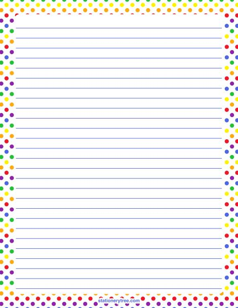 Printable rainbow polka dot stationery and writing paper. Multiple ...