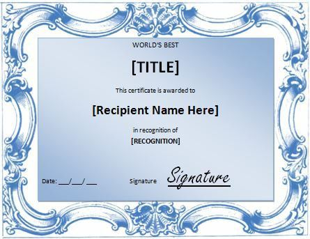 World's Best Award Certificate Template | Formal Word Templates