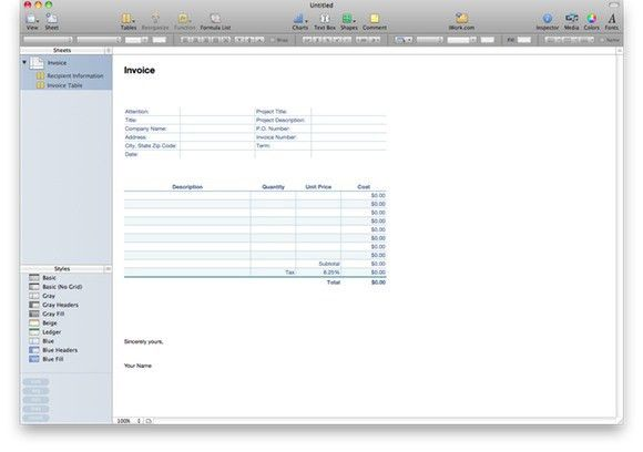 Numbers Invoice Template   invoice example