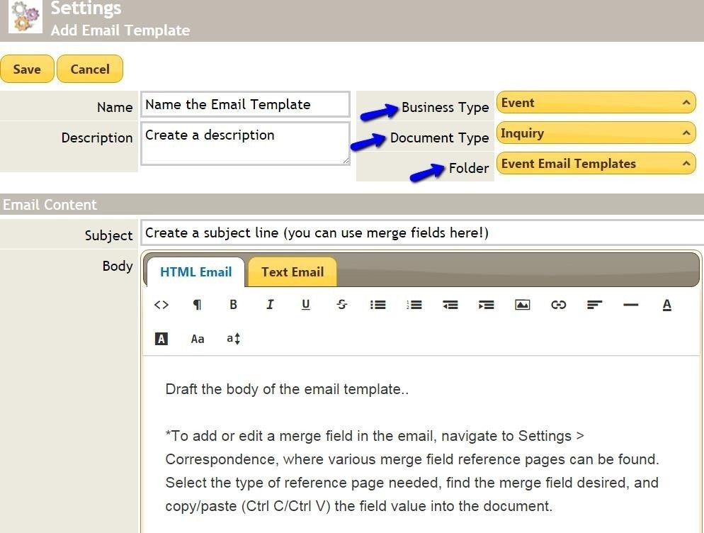 Banquets - Editing Email Templates - CE - Client Education ...