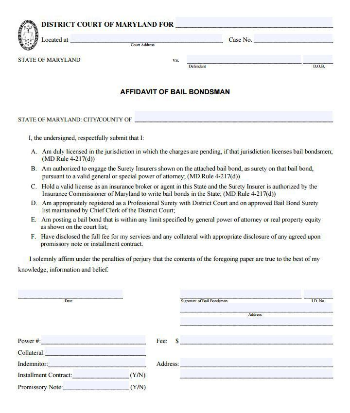 Free Maryland Affidavit of Bail Bondsman Form | PDF Template ...