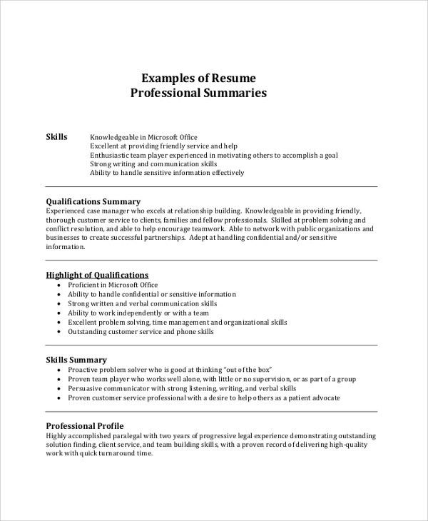 Resume Summary Example - 8+ Samples in PDF, Word