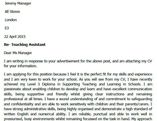 teacher aide cover letter