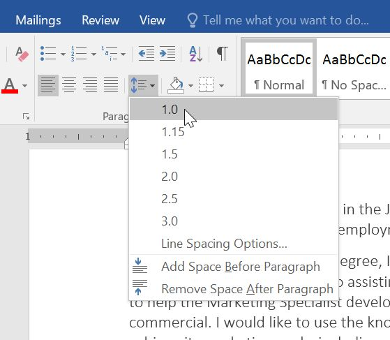 Word 2016: Line and Paragraph Spacing - Full Page