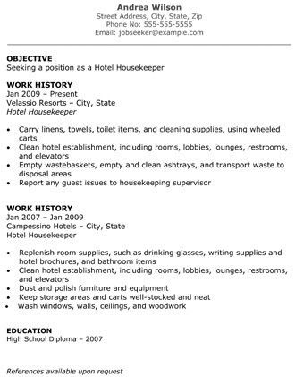 Download Housekeeping Resume Sample | haadyaooverbayresort.com