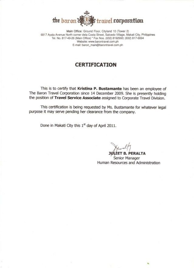 Employment Certificate Template - Contegri.com
