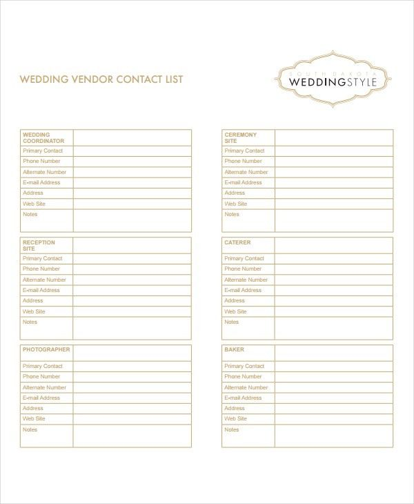 Vendor List Template - 8+ Free Word, Excel, PDF Document Downloads ...