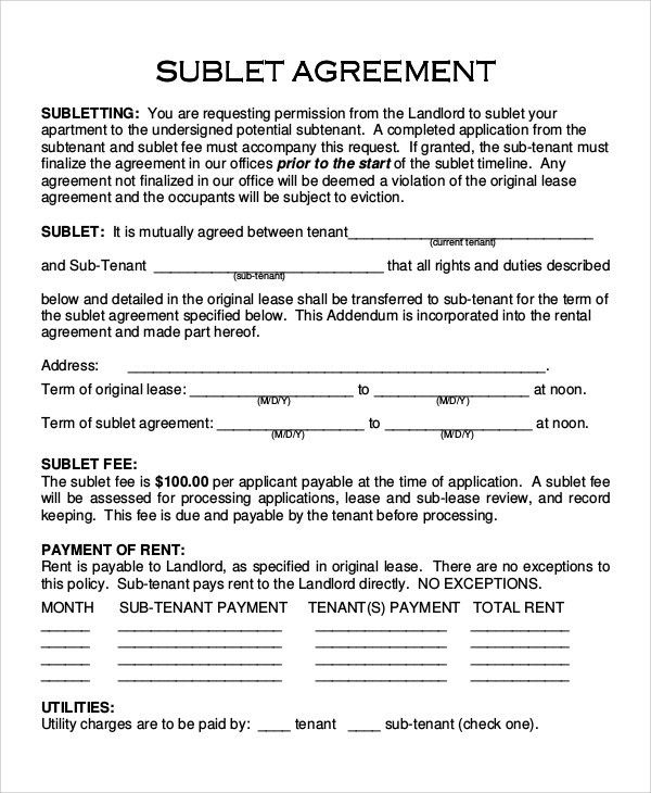 Sample Sublet Agreement - 10+ Examples in PDF, Word