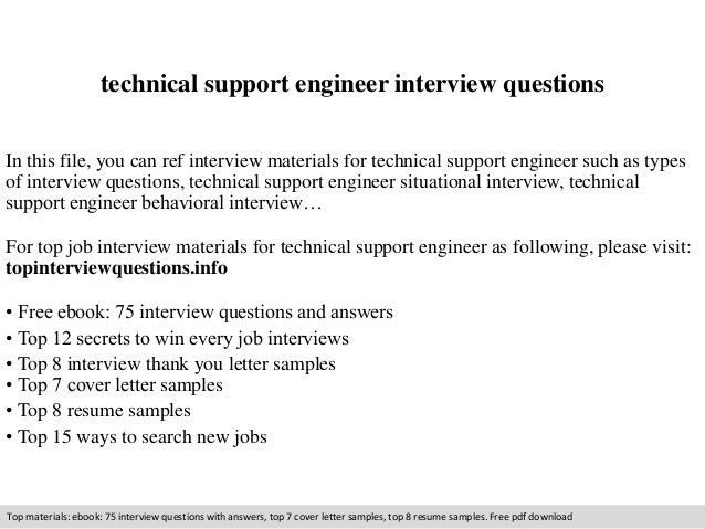 Technical support engineer interview questions