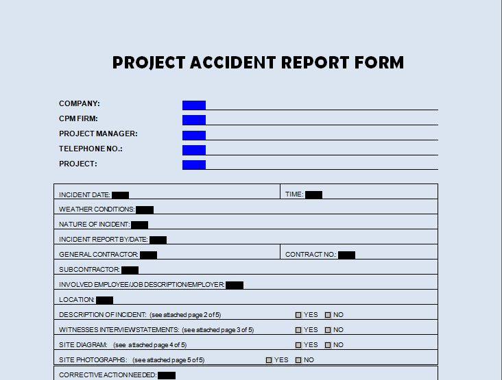 Download Project Accident Report Form Template - Project ...