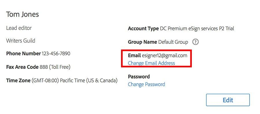 Change your e-mail address