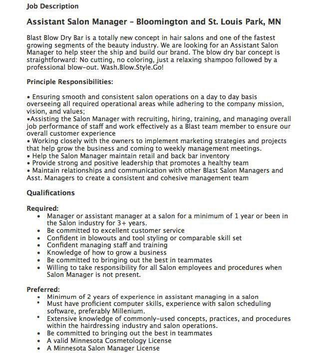 assistant salon manager job description httpresumesdesigncom