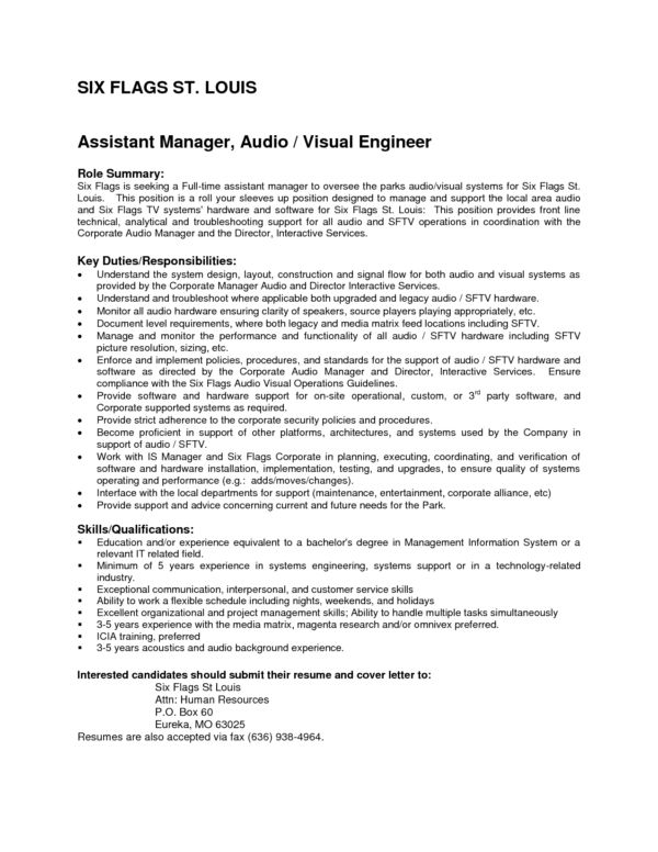 Interesting Assistant Manager and Audio Visual Engineer Resume ...