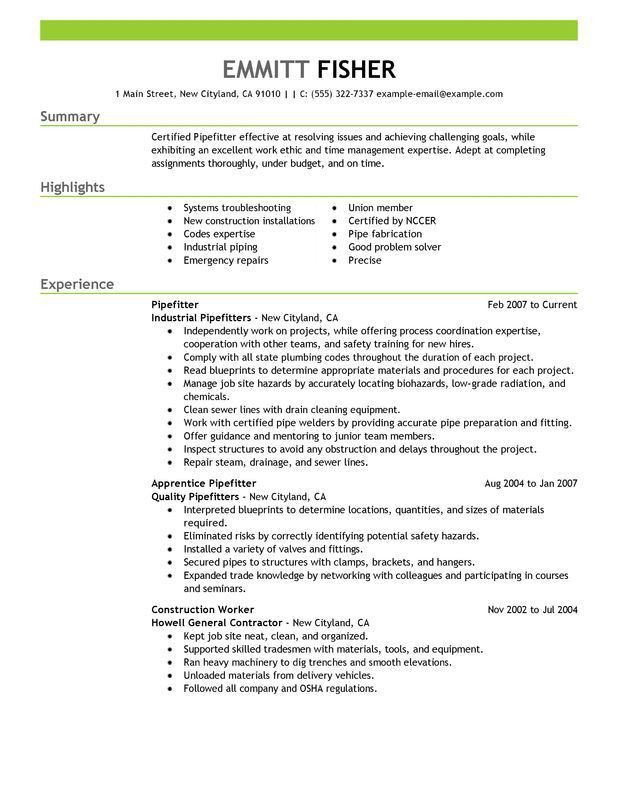 Unforgettable Pipefitter Resume Examples to Stand Out ...