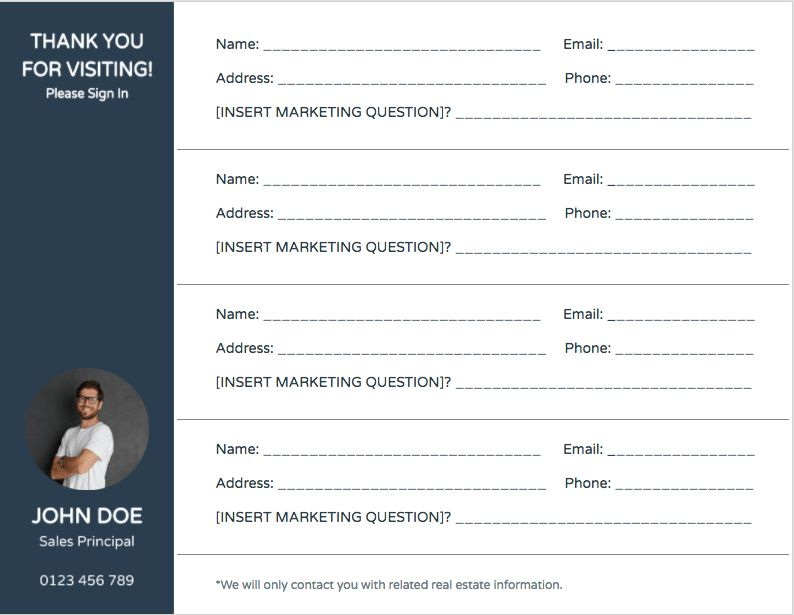 Open House Sign In Sheet Free Template Download