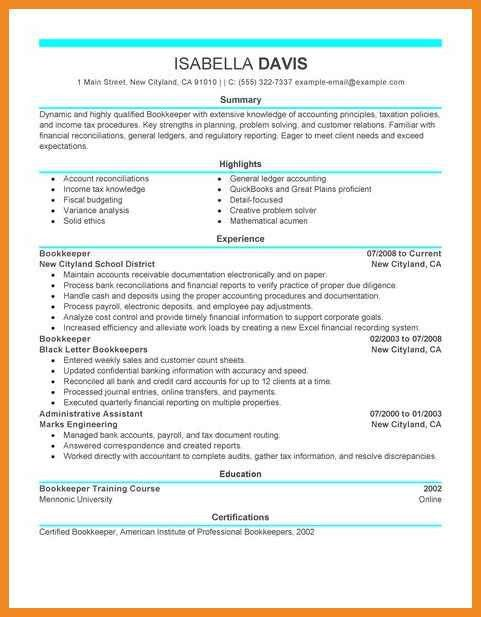 bookkeeping resume | art resume examples