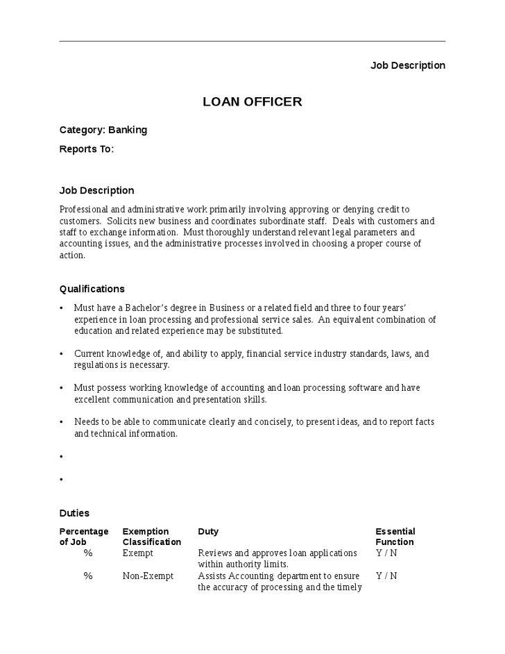 Loan Officer Job Description qualifications & duties ...