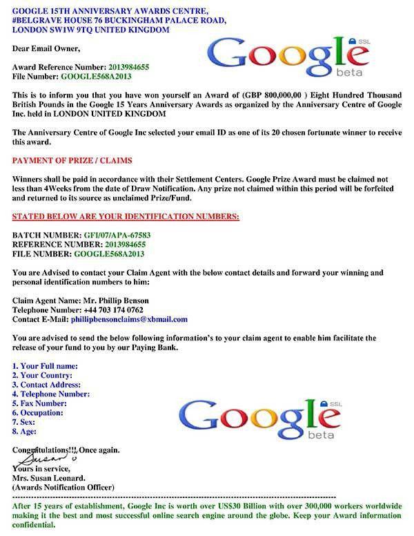 419 Scam Alert: Google 15 Years Anniversary Awards