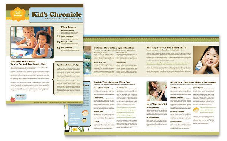 Child Development School Newsletter Template - Word & Publisher