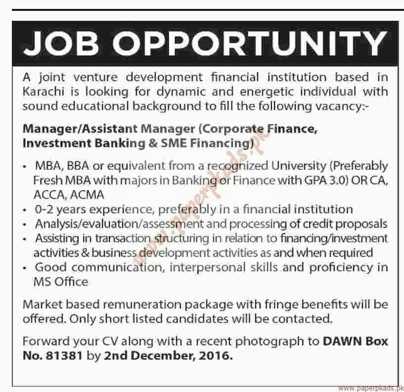 Manager, Assistant Managers and Other Jobs - Dawn Jobs ads 27 ...