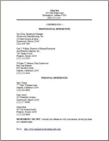 Reference Resume Sample | jennywashere.com