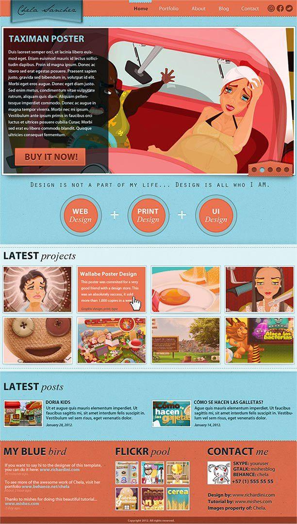 Designer portfolio template | Free PSD Templates | Pinterest | Psd ...