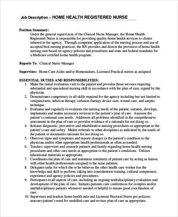 rn job description resume format for nursing job nursing resume