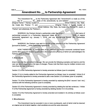 Create an Amendment to a Partnership Agreement | Legal Templates
