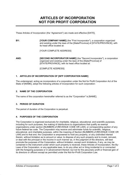 Articles of Incorporation Not for Profit Organization - Template ...