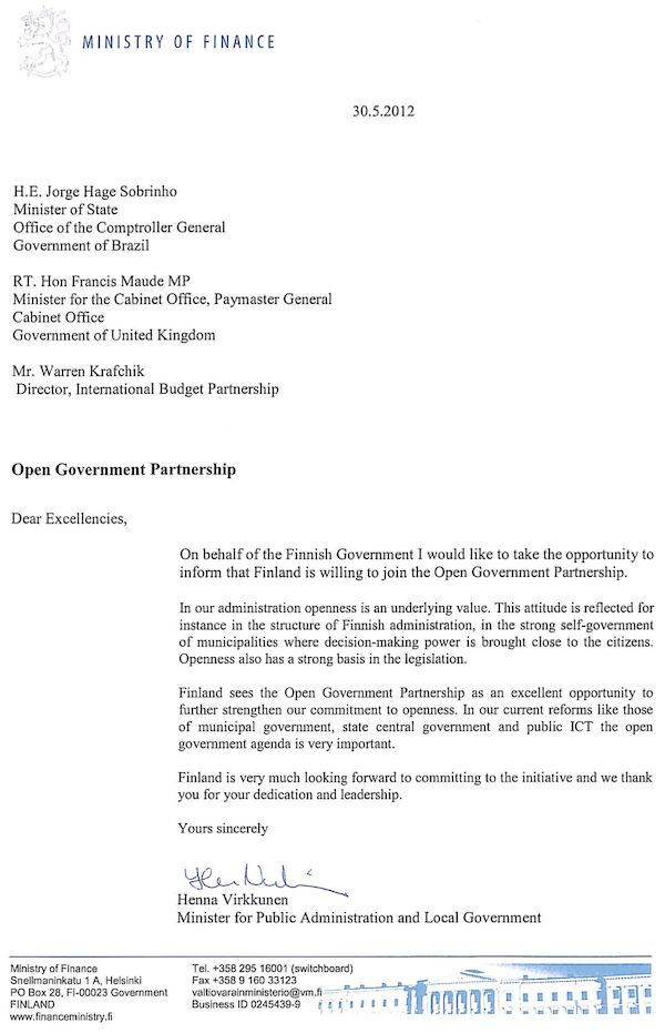 Finland Letter of Intent to Join OGP | Open Government Partnership