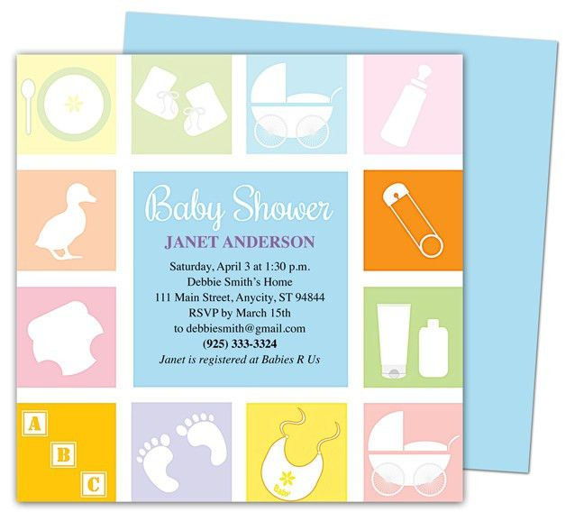 Baby Shower Invitations Template : Blocks Shower Invitation ...