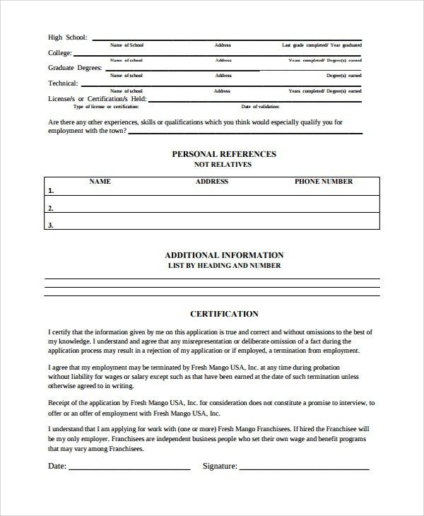 work history template