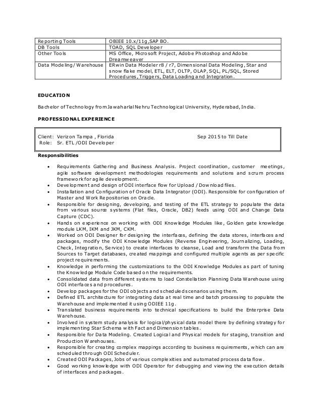 Obiee Sample Resume Architect Bank Clerk