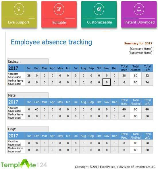 Employee Leave Record Template Excel | Template124