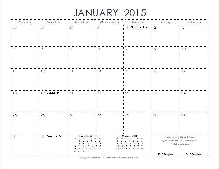 Calendar Template 2015 - vnzgames
