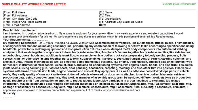 Quality Assessor Cover Letters