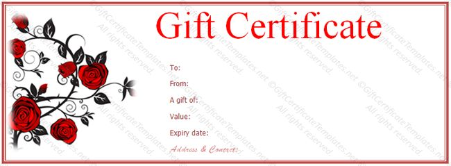 Red rose gift voucher template - Gift Voucher Templates