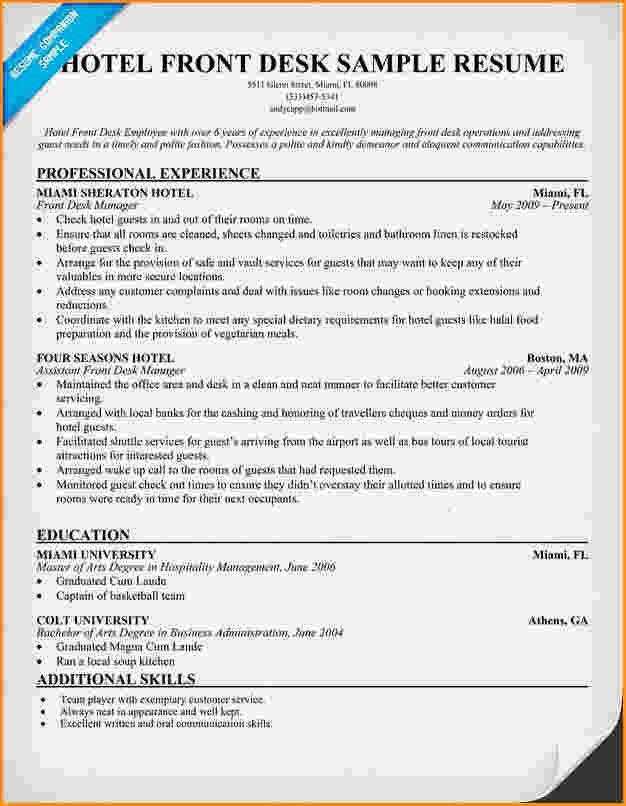 sample resume for front office receptionist hotel receptionist