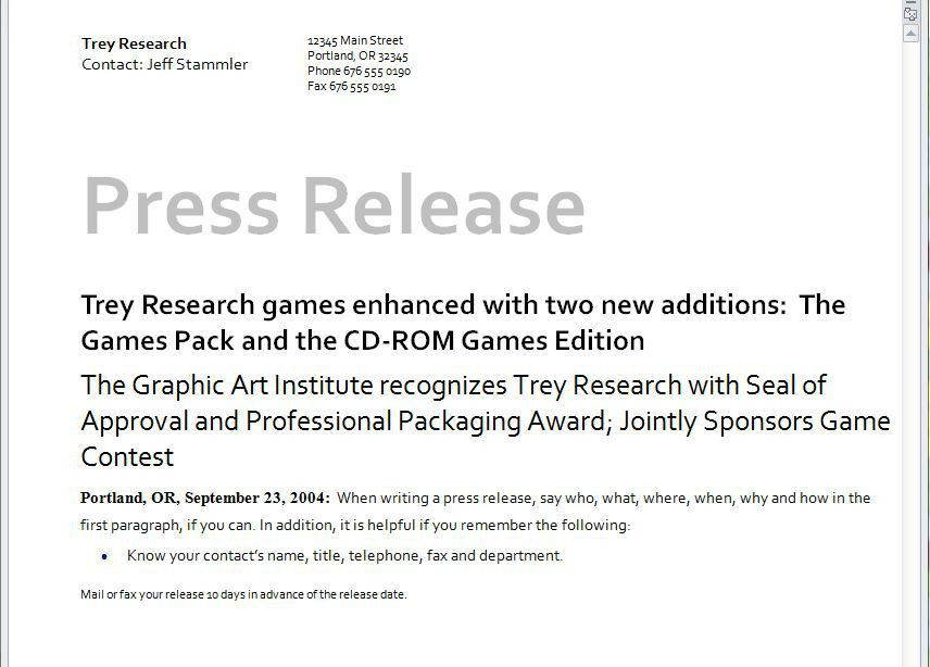 Press Release Template | Microsoft Press Release Template