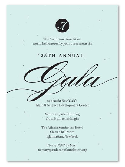 Unique Gala Invitations on plantable paper ~ Fancy Fundraising by ...