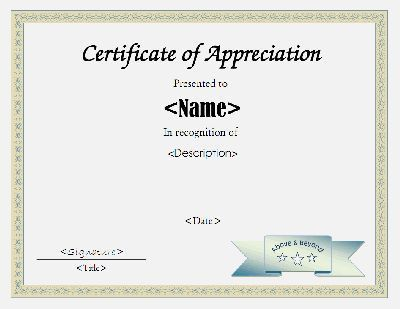 Certificate of appreciation template in PDF and DOC formats. Free ...